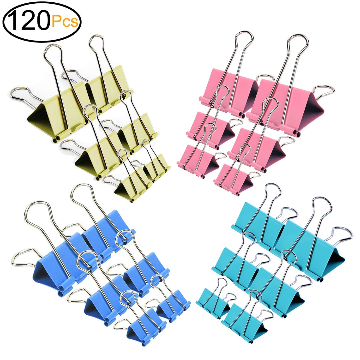 ExcelFu 120 Pcs Colored Binder Clips Paper Clamp Clips Paper Binder Assorted 6 Sizes