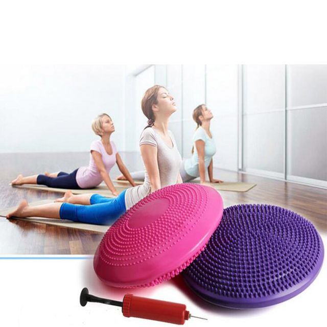 Indoor Exercise Fitness Core Balance Disc Inflated Stability Wobble Cushion with Free Pump
