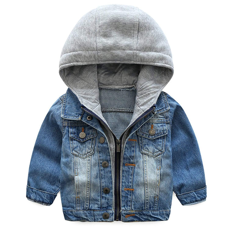 KISBINI Boys' Chaqueta Windproof Hooded Zip Jacket Outdoor Coat for Children