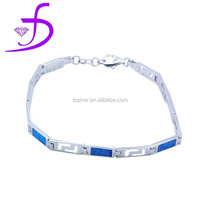 sterling silver 925 bracelet jewelry opal inlay chain perfect jewelry