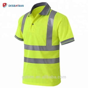 Wholesale Construction Work Birdseye Moisture Wicking Short Sleeve High Visibility Hi Vis Safety Reflective Polo T Shirt