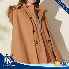 Manufacture OEM/ODM Shandao Sweet Casual Hooded Double Breasted Long Bell Sleeve Fur Coat