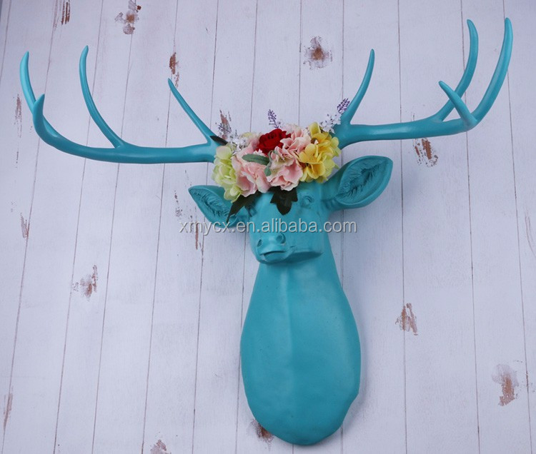 2017 new product resin deer antler wall art decor floral deer antler