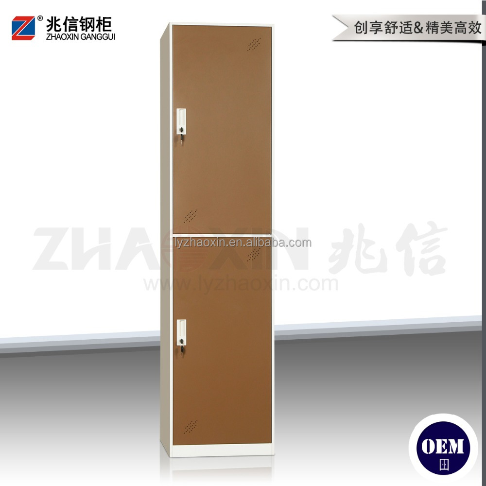 2 vertical door brown wardrobe key lock wardrobe cabinet locker luxury zinc alloy handle metal wardrobe