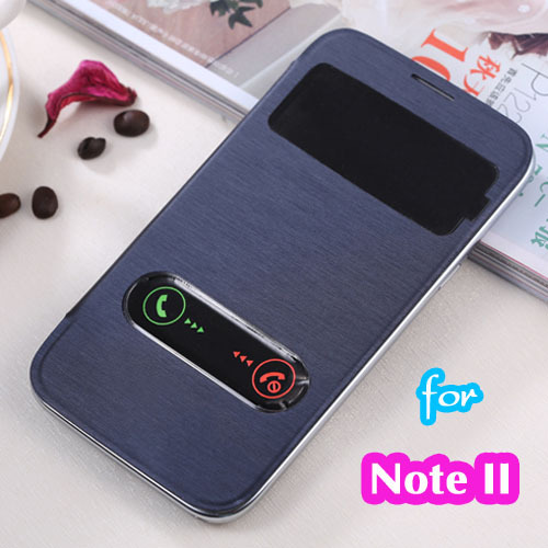 premium selection dbde8 1eeaf Slim Touch Screen View Original Leather Case Flip Cover Shockproof Holster  Protector For Samsung Galaxy Note 2 Note2 II N7100