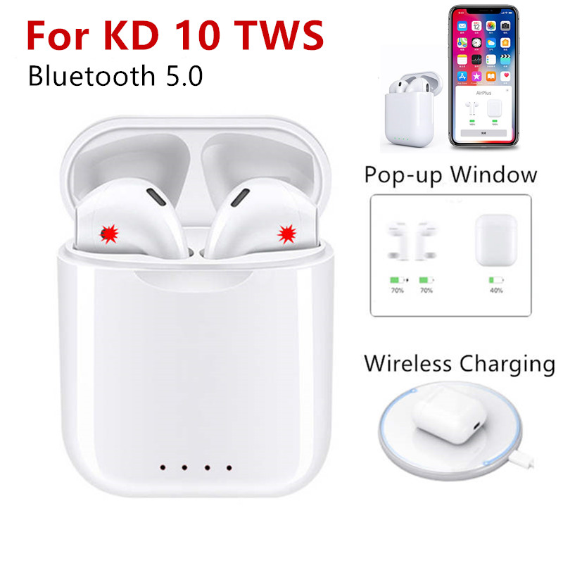 KD10 TWS 5.0 Bluetooth Earphone Wireless charging Touch control Popup Window Wireless Earbuds V8 Headset