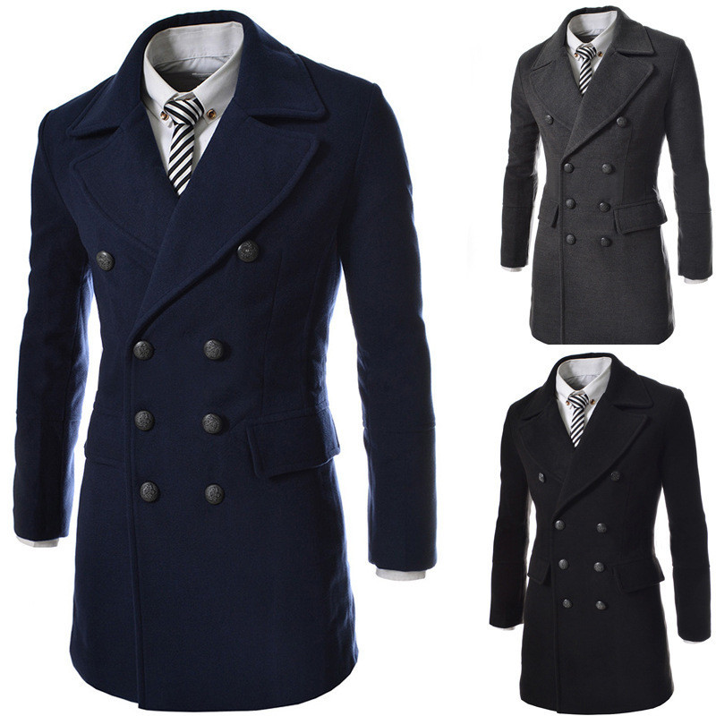 walson Men's fashion classic fashionable pea coats fashion abaya coat