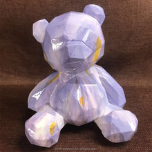 Promotional purple color sitting carved bear statue table hand carved resin modern animal sculpture