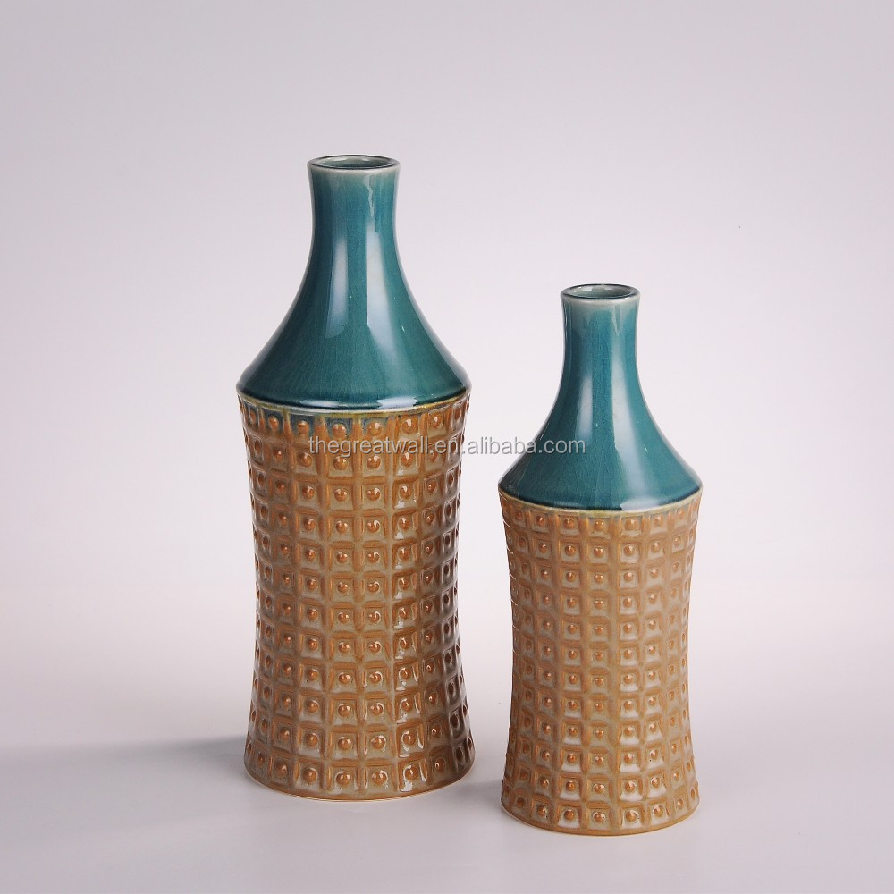New arrival! stoneware long neck embossed vase for home N5345C