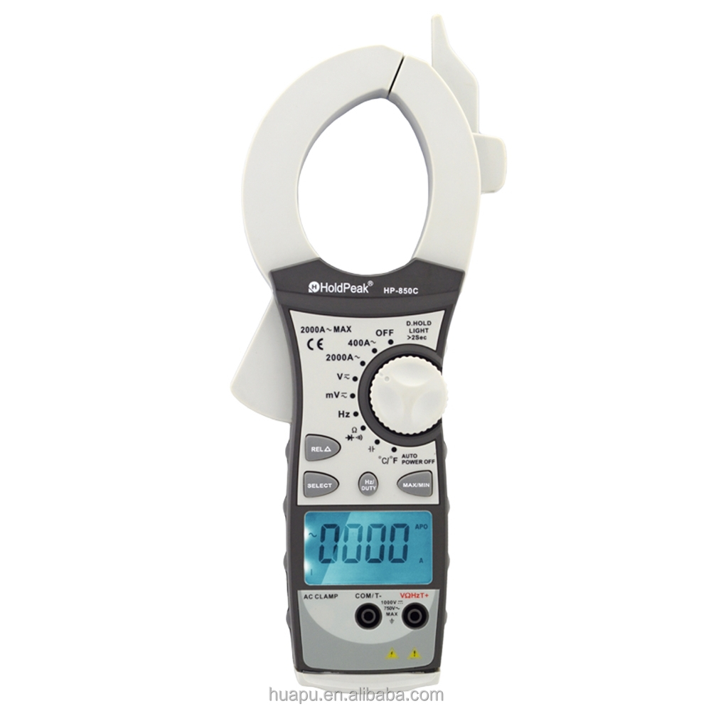 HoldPeak HP-850C True RMS 2000A Digital Clamp Meter, AC/DC/Resistance/Frequency Clamp Multimeter