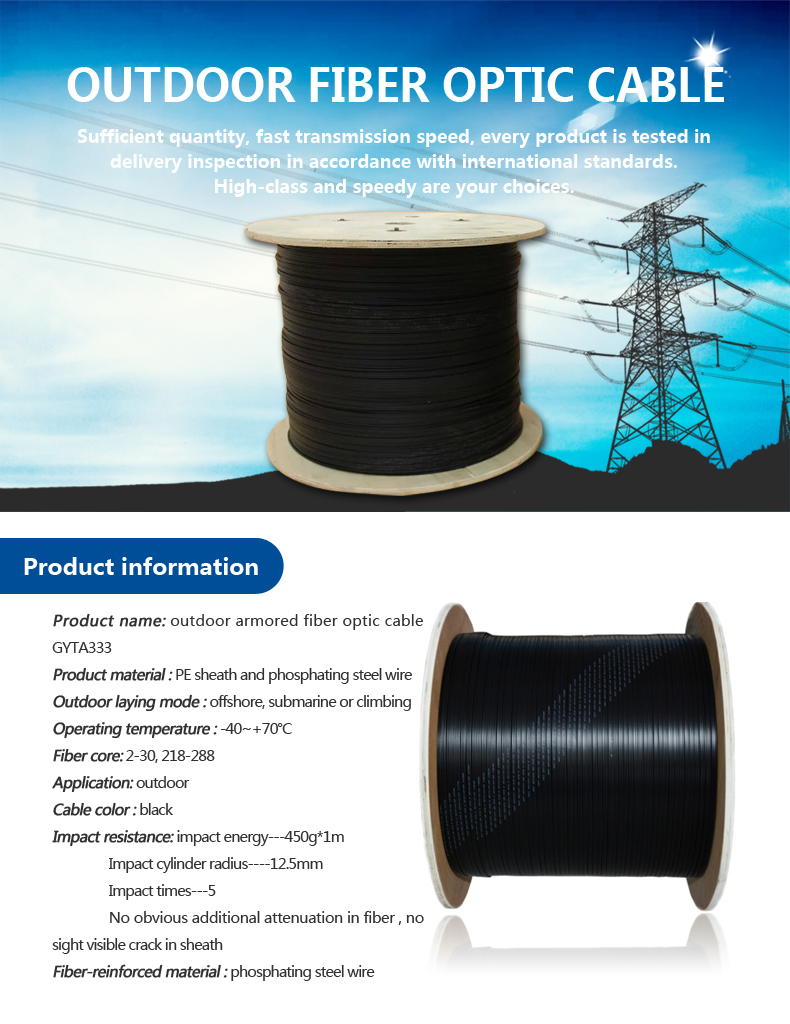 Asia high tensile double steel wire armoring underwater submarine fiber optic cable GYTA333