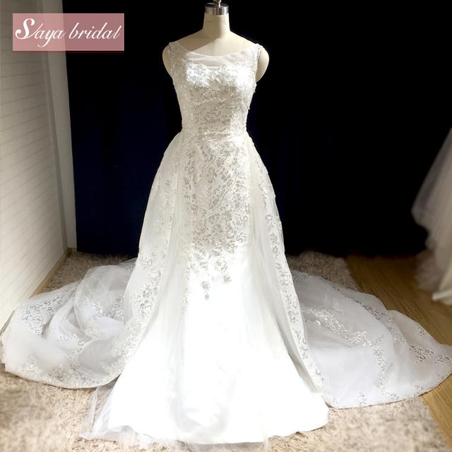 2018 Two Piece Long Tail Alibaba Lace Wedding Dress