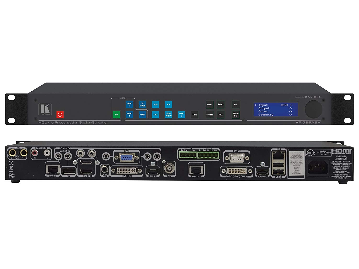 Kramer VP-796ASV 4K/60 4x2x0/HDBaseT/Legacy Presentation Switcher/Scaler w Ultra-Fast Input Switching/H.264
