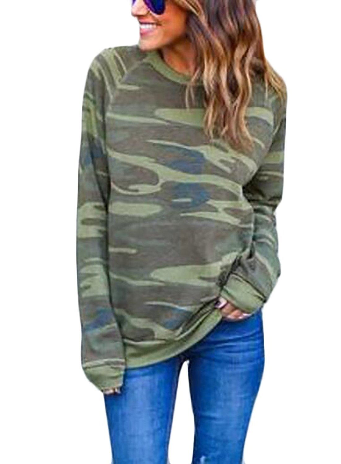 KLJR Womens Outdoor Camouflage Printed Crewneck Sweater Pullover