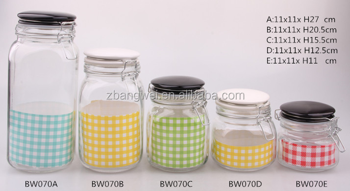 square clear glass canister jar with glass or ceramic lid glass storage jar for food