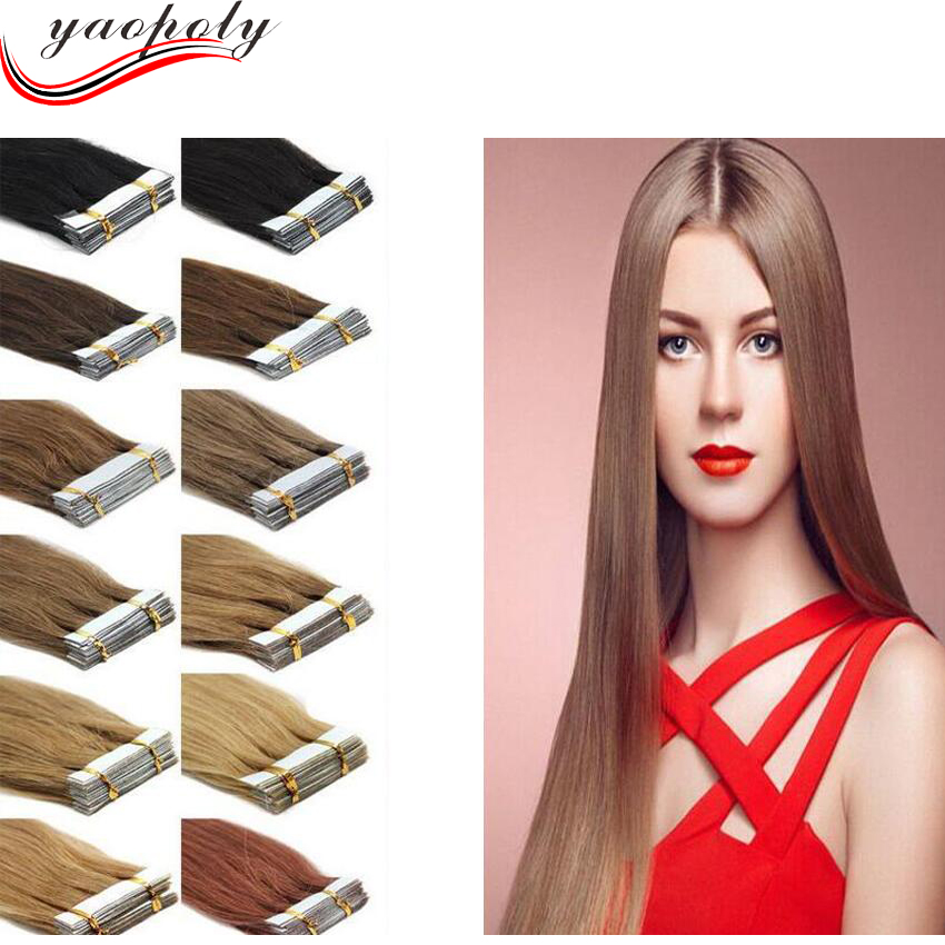 mixed color remy tape hair extensions double drawn 100% human remy keratin curly tape hair extension