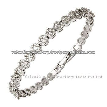 2015 Trendy Bracelet Diamond Bracelet Design White Gold Bracelet