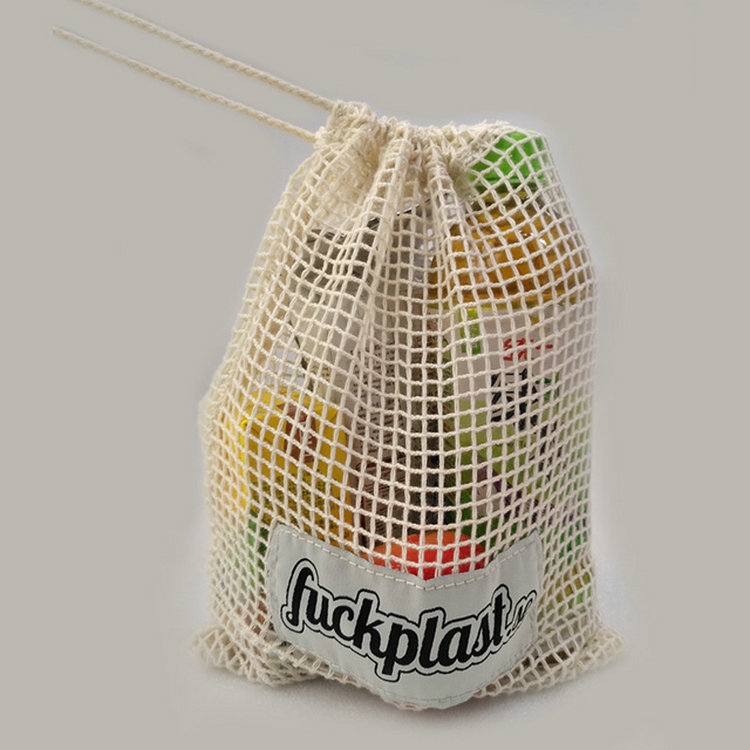 Recycled custom fruit cotton mesh bag grocery shopping produce net bag