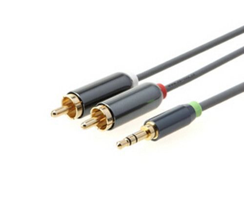 3.5mm Mini Jack to 2 x RCA Phono Plugs Metal top quality Metal shell 1m
