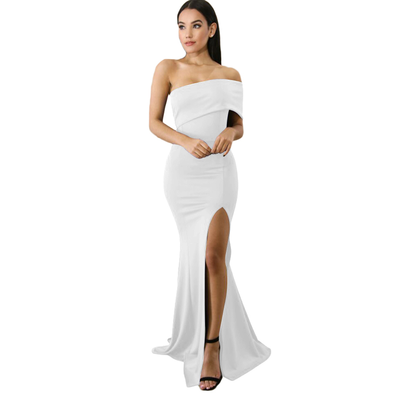 Woman One Shoulder Slit Maxi Party Prom Elegant Evening Christmas Gown Dress