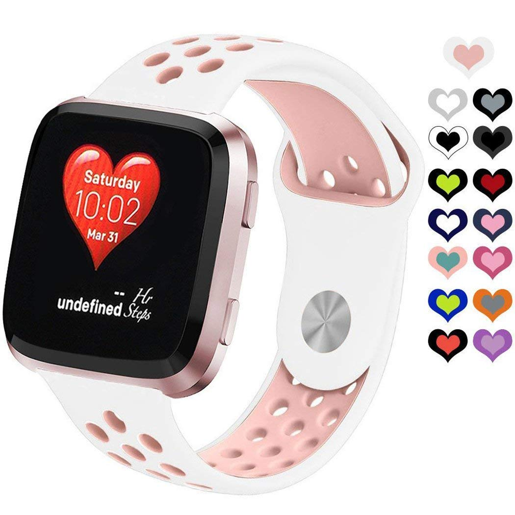 """MoreToys Silicone Replacement Accessories Bracelet Adjustable Watch Band Strap Wristband for Fitbit Versa Fitness Smartwatch (White/Pink, Small 5.9""""-7.8"""")"""