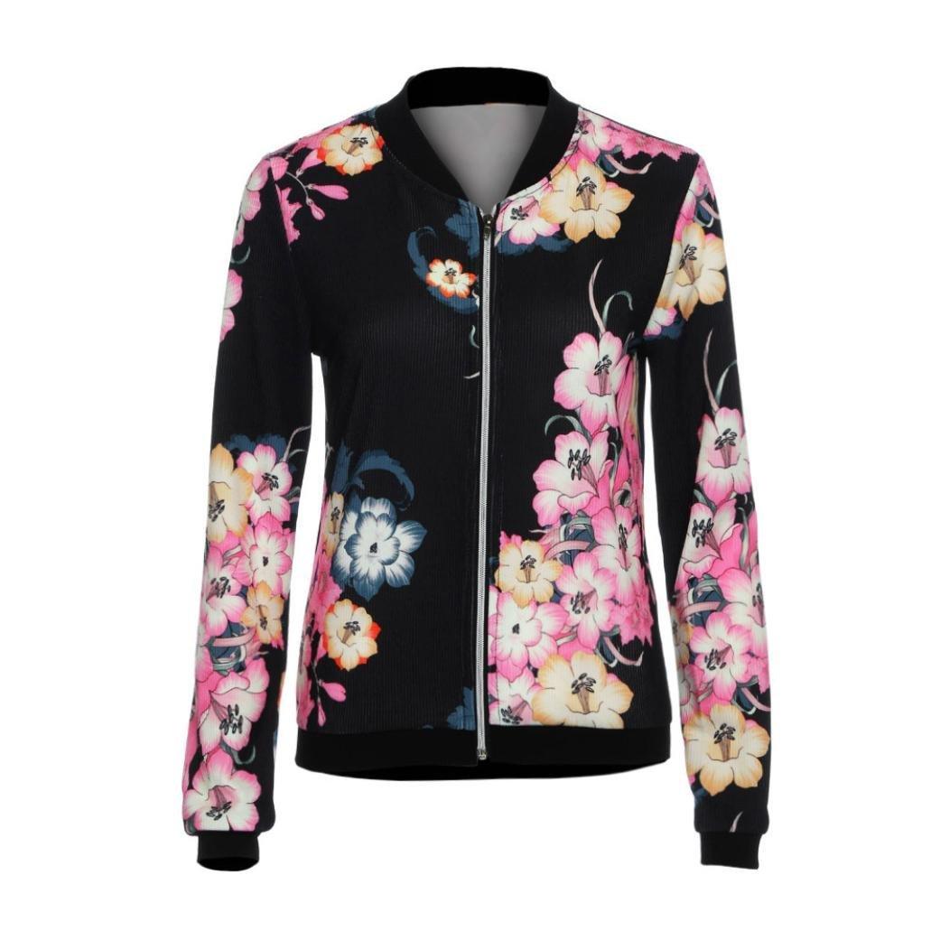 Women Coat ,Orangeskycn Womens Ladies Biker Celeb Camo Flower FLoral Print Zipper Up Bomber Jacket (L, Black)