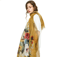 Factory Direct Selling Satin Design Retro Thin Flower Printed Cotton Hijab Women Shawl Hemp Lady Scarf