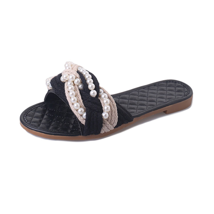 Sweet new style ladies anti-slip indoor flat slippers with high quality fabric material match pearls