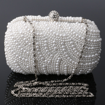 White Pearl Ladies Evening Dinner Clutch Bag Bride Bag For Wedding Evening  Party Bridal HandBags B00060