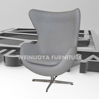 Customized Factory Egg Chair with Aluminum Legs and Fiberglass Frame, Leather/Woolen Upholstery, designer furniture