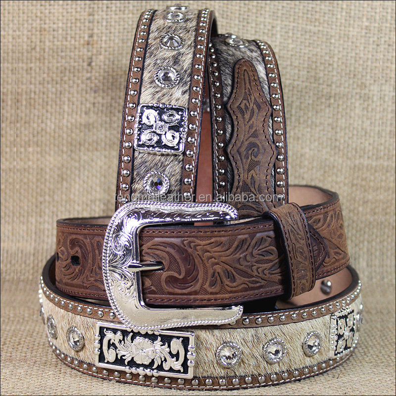 "32 -48"" 1 1/2"" 3D BROWN MENS SILVER CONCHO WESTERN FASHION LEATHER HAIR ON HIDE BELT"