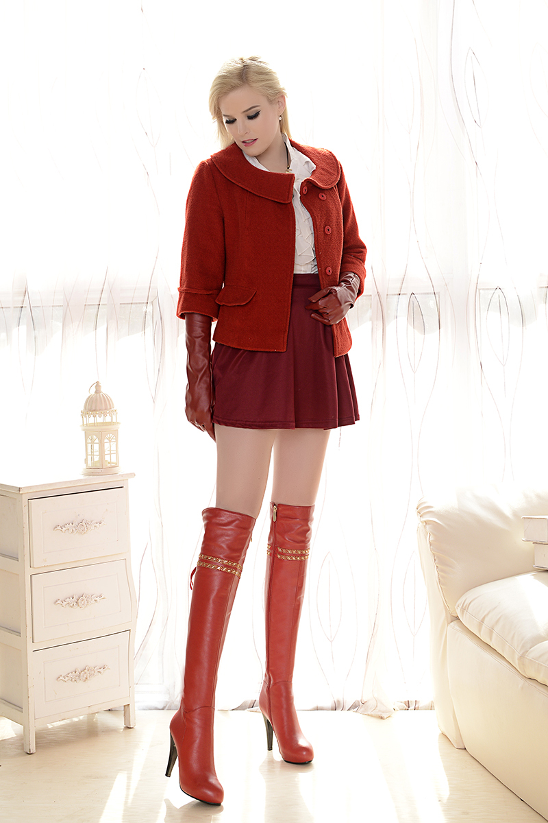 Cheap Soft Leather Thigh High Boots