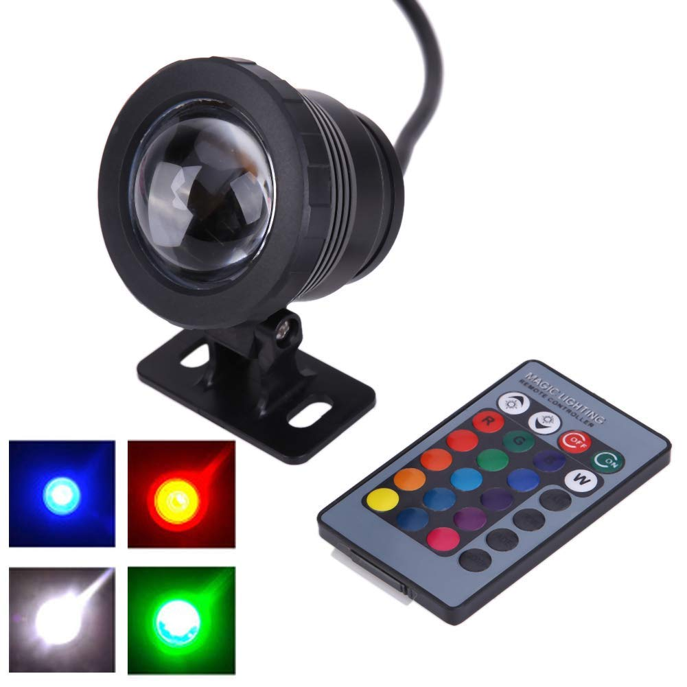 7 Colors 10W 12V RGB LED Underwater Fountain Light 1000LM Swimming Pool Pond Fish Tank Aquarium LED Light Lamp IP68 Waterproof(Black)