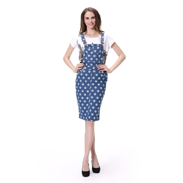 ホットセクシーなドットプリント全体的なデニムジーンズ女性スカート