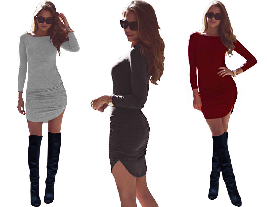 2016 New Sexy Women Long Sleeve Bandage Club Party Dress robe femme Casual Office blank T Shirt Dress