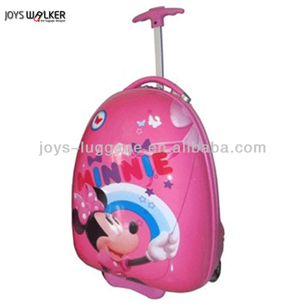 egg shape minnie kids trolley hard case luggage with two spinner wheels