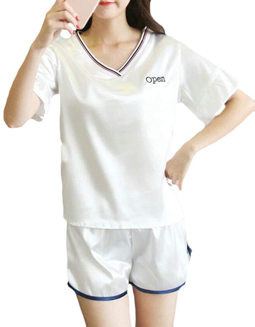 df9a038d87c Get Quotations · Frieed Women Sleepwear Satin Pajama Shorts Tops 2 Pieces Nightwear  Shorts Set