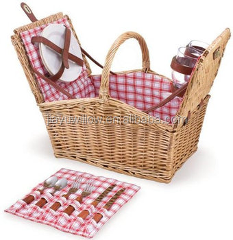 wholesale wicker picnic basket, wicker picnic basket with handle and lid,willow picnic basket with cutlery