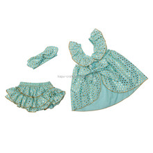 New arrival sparkle polk dots swing top set cheap baby clothes set kids outfit/child clothing