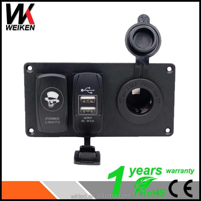 WEIKEN Car Auto Boat Marine Switch Panel 5 pin On/Off Rocker Switch