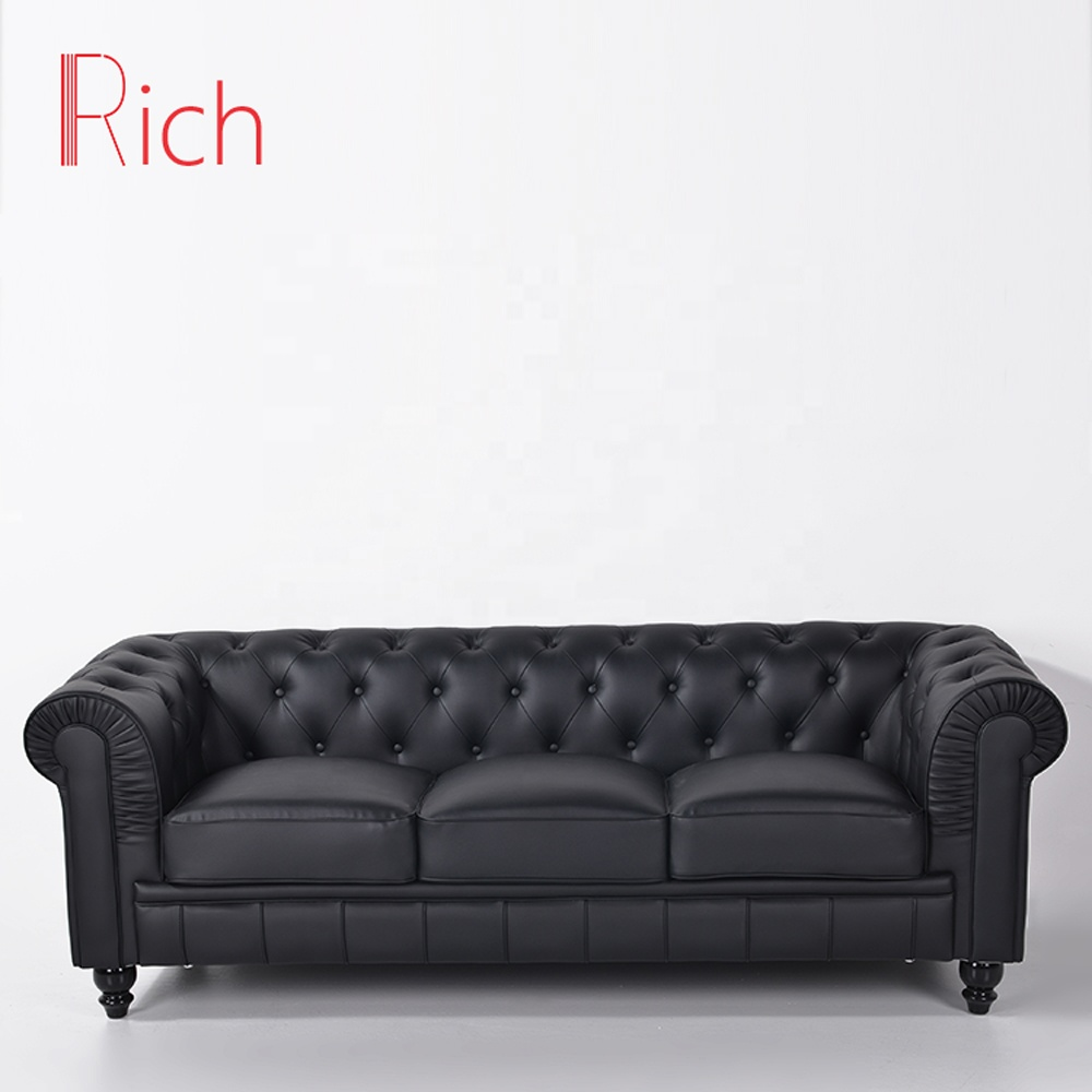 Contemporary Furniture Living Room Sofa Black Chesterfield Leather Sofa Set  - Buy Sofa Set,3 Seater Sofa Set,Leather 3 Seater Sofa Set Product on ...