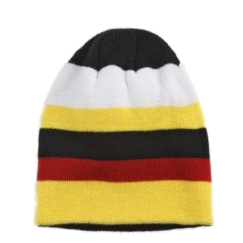084cb6ec6df Get Quotations · Aquarius Boys Colorful Knit Stripes Beanie Yellow Red  Stripe Stocking Cap Hat