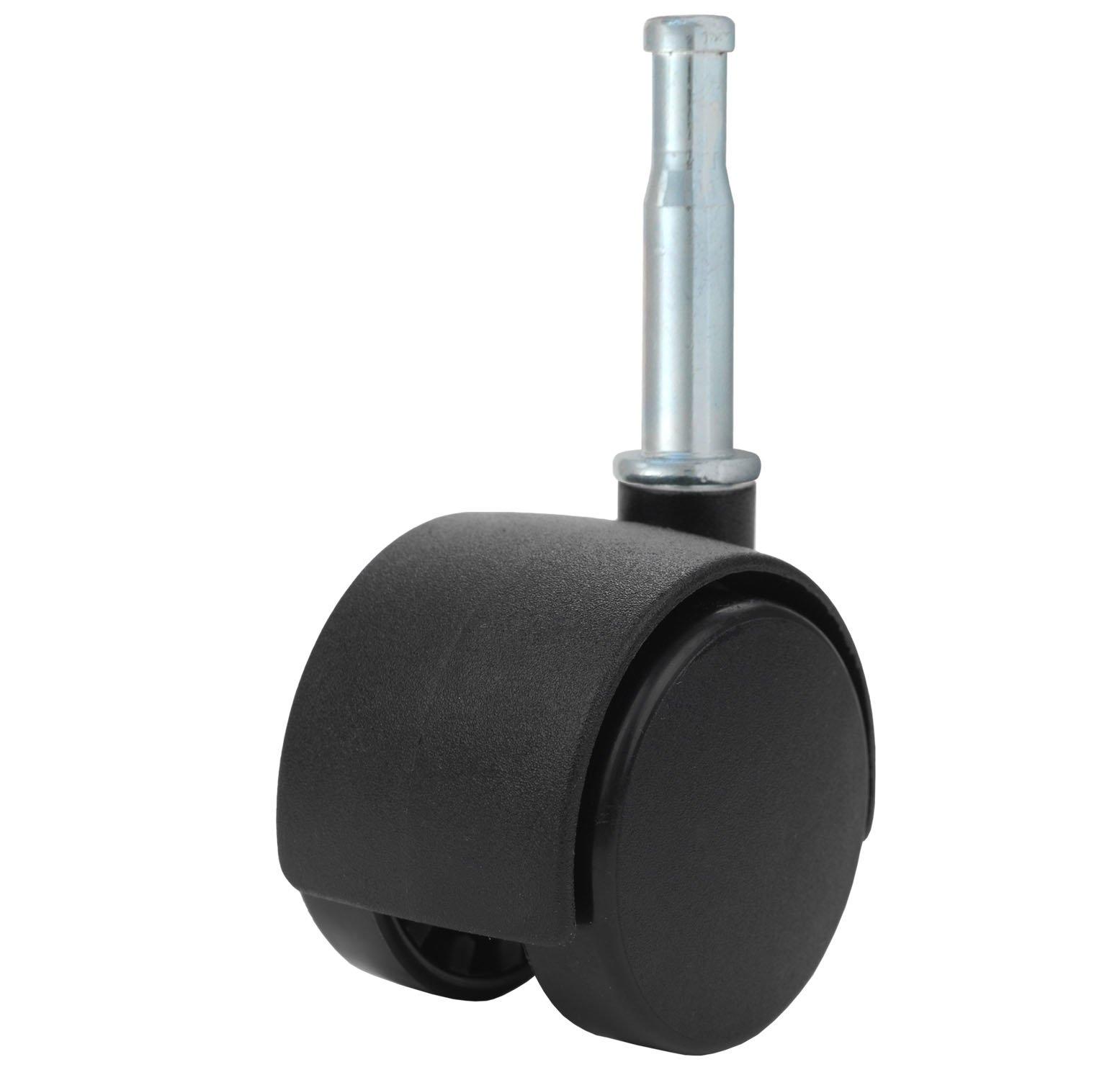 """Twin Wheel Caster Solutions TWHN-40N-G02-BK 1.57"""" Diameter Nylon Wheel Hooded Non-Brake Caster, 5/16"""" Diameter x 1-1/2"""" Length Grip Neck Stem, 67 lb Capacity Range"""