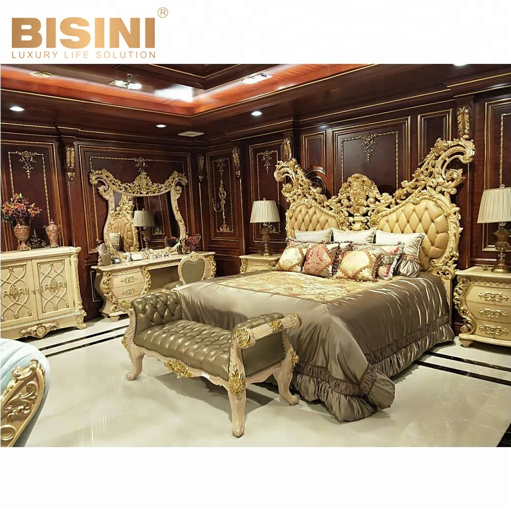 Bisini Court Style Luxury Hang Carving bed, European Style wooden bedroom furniture (BF07-70074)