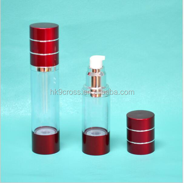 High Quality Red Cosmetic Acrylic Cream Jar Lotion Pump Bottle