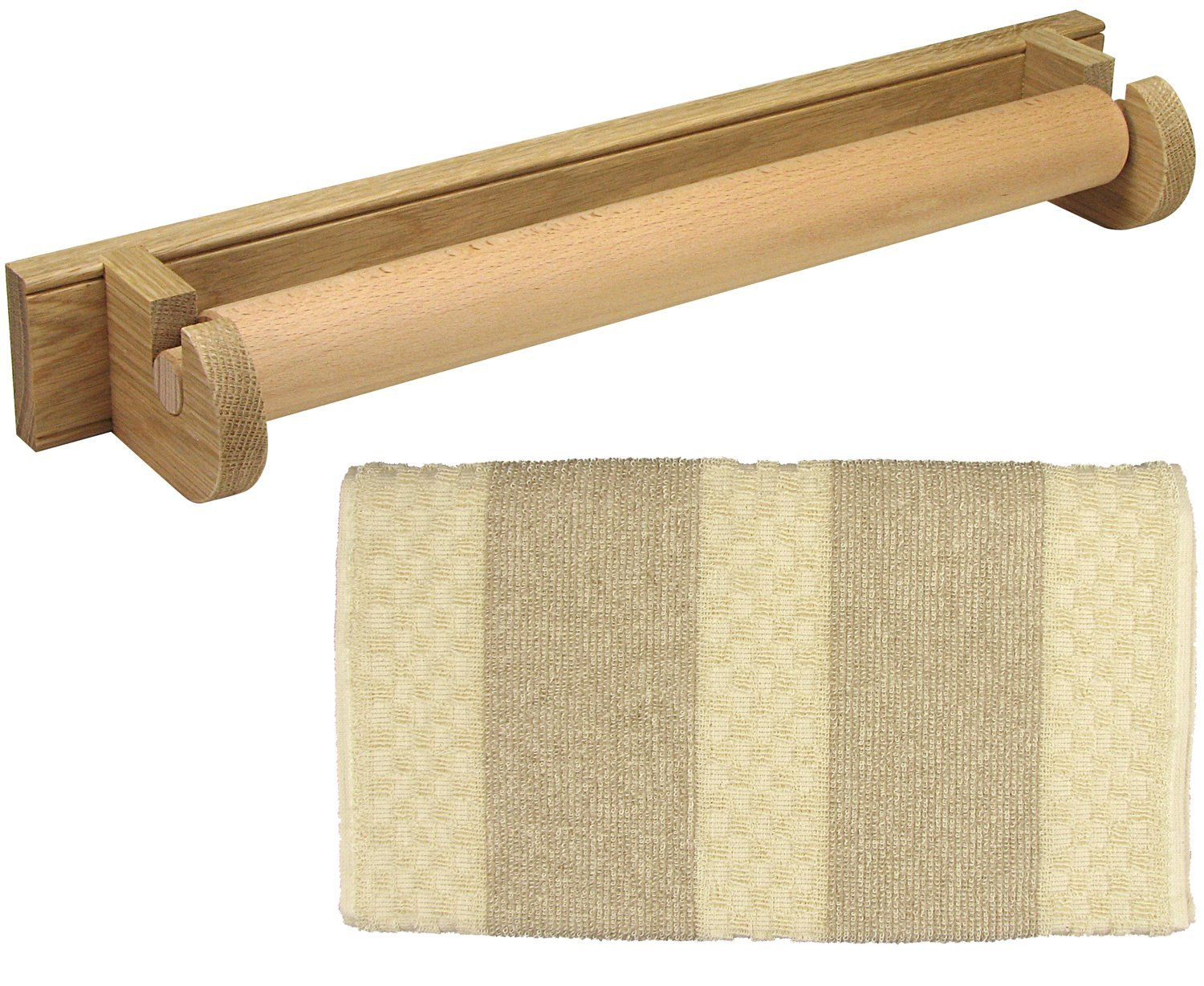 Oak Roller Towel Holder With 100% Cotton Traditional Terry Roller Towel (Oak Holder + Natural Stripe Towel)