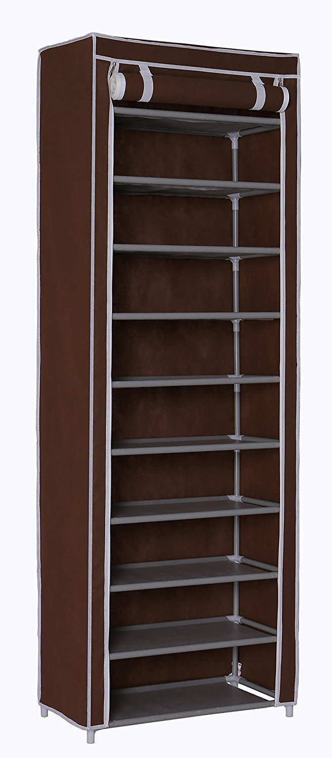"Homebi 10-Tier Shoe Rack 30 Pairs Shoe Tower Closet Shoes Storage Cabinet Portable Boot Organizer with Dustproof Non-woven Fabric Cover and 10 Durable Shelves in Brown,24.2""W x 12.4"" D x 68.3""H"