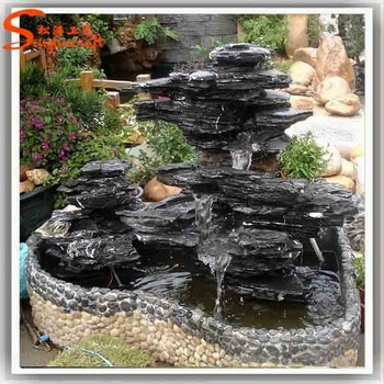 Rustic Stacked And Staggered Stone Outdoor Patio Garden Water Fountain Artificial Fiberglass