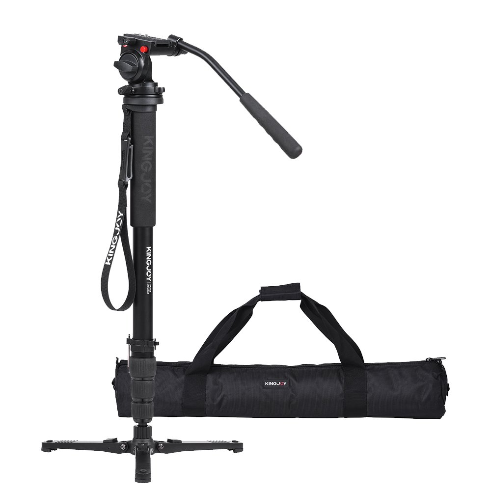 Compact Black Kingjoy MP Series Video Monopod Tripod 4-Section Twist Lock Telescoping Legs with Fluid Damping Head and Folding Three Support Stand Base MP3208+VT-3510