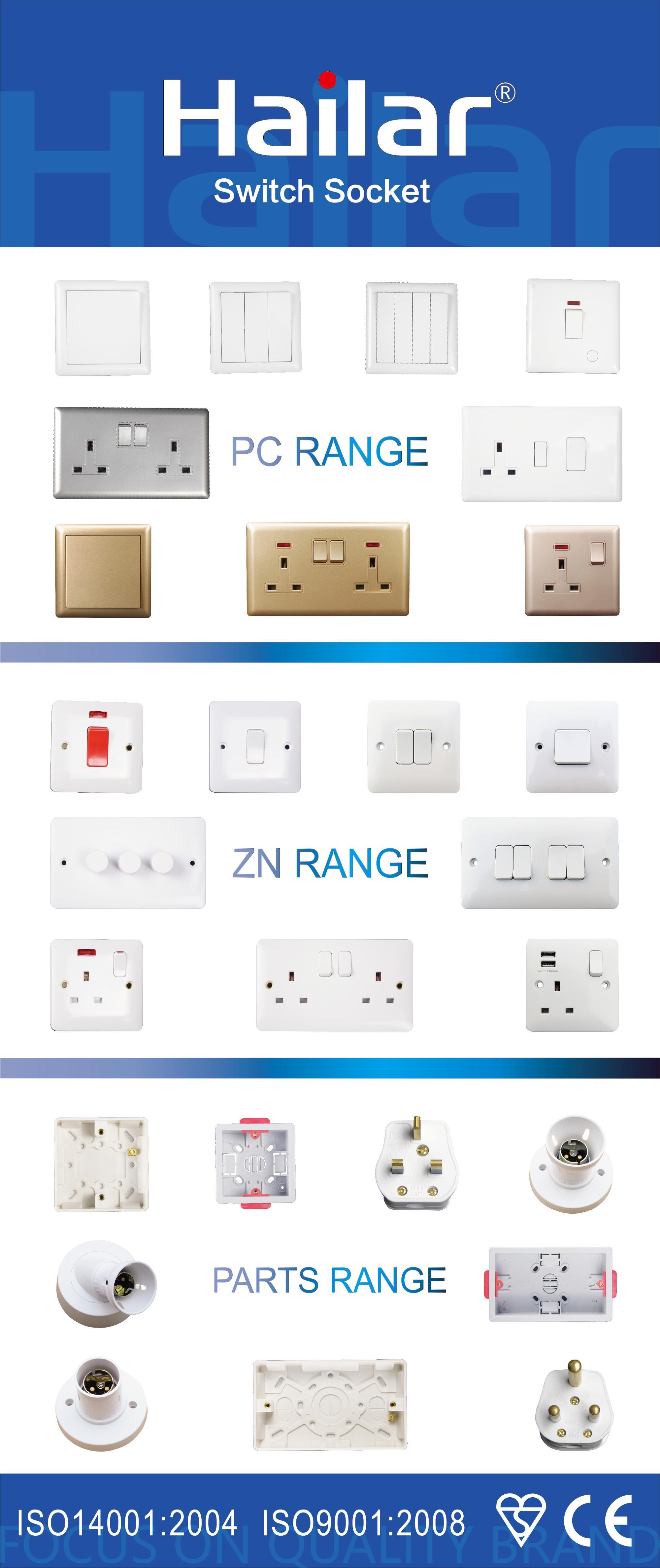 Zn Range Good Quality 10a Uk 2 Gang 2 Way Electric Wall